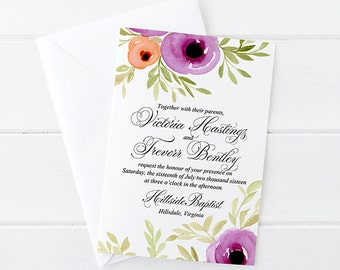 "Floral Invitation Card Watercolor Wedding Invitation - Calligraphy Wedding Invite ""Spring Blooms"" Watercolor Invitation Card Rustic Wedding"
