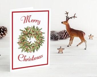 "Watercolor Christmas Card Set - Merry Christmas Greeting Card - Happy Holidays Happy New Year Card ""Christmas Wreath"" Season's Greetings"