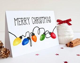 "Merry Christmas Greeting Card - Watercolor Christmas Card - Happy Holidays ""Christmas Lights"" Greeting Card - Season's Greetings"