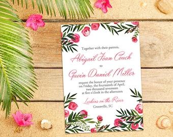 "Beach Wedding Invitation Card - Destination Wedding Invitation - Watercolor Wedding Invitation ""Tropical Garden"" Wedding Invitation Card"