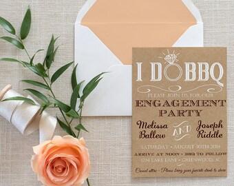 I DO BBQ Engagement Party Invitation Template - Kraft Wedding Shower Template - Rustic Wedding Invitation - Kraft Bridal Shower Download PDF