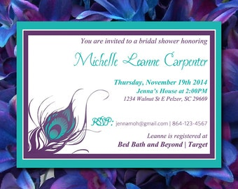 bridal shower invitation template peacock wedding invitation word template purple teal peacock feather wedding shower invitation