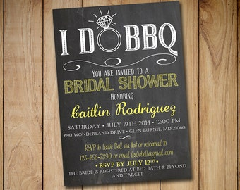 I Do Bbq Wedding Invitation Template Download Chalkboard Etsy