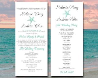 beach wedding program template seashell wedding program etsy
