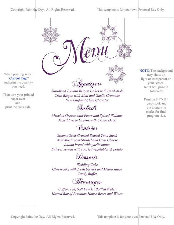 Snowflake Wedding Menu Card Template Printable Wedding Etsy