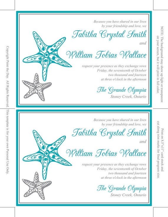 Beach Wedding Invitation Template Blissful | Etsy