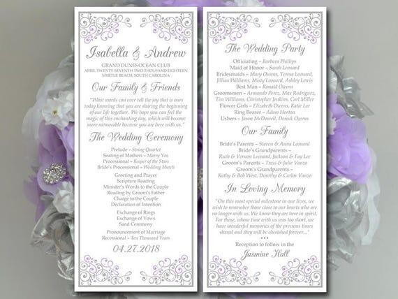 Lilac Wedding Program Template Tea Length