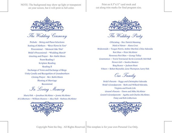 wedding fan program template printable ceremony program etsy