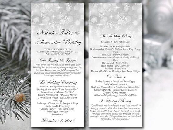 winter wedding program template snowflake etsy