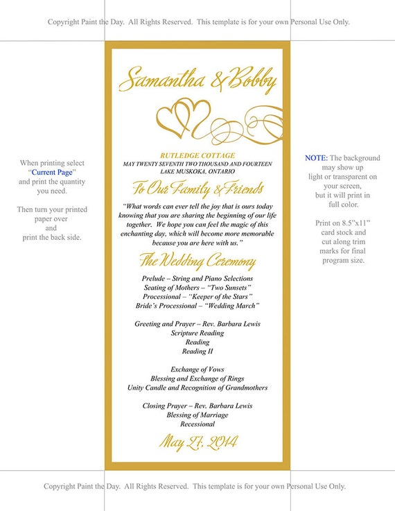 double heart wedding program microsoft word template gold etsy
