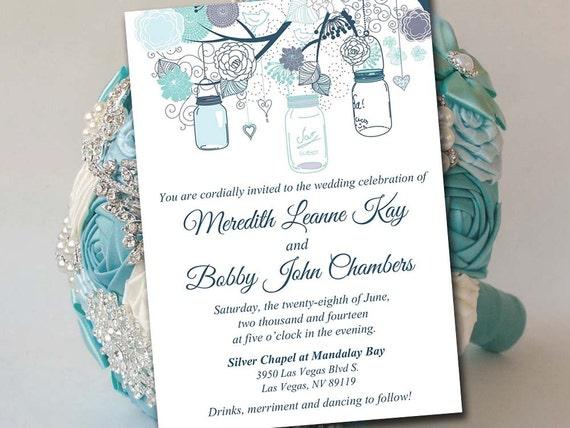 Printable Wedding Invitation Template Mason Jar Invitation Etsy