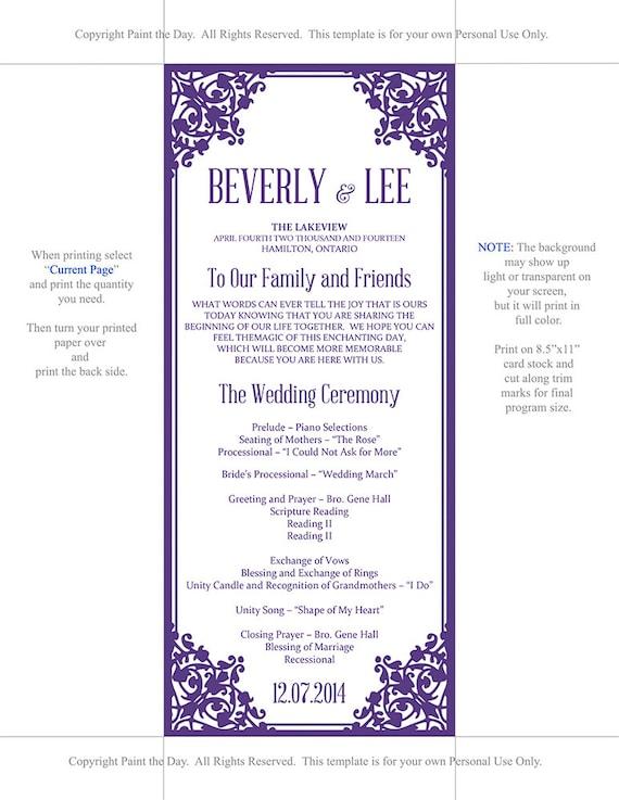 diy wedding program template tea length program template garden