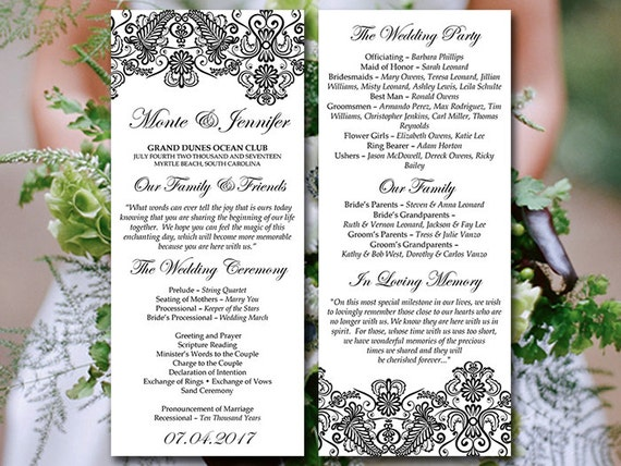 Vintage Wedding Program Template Lace