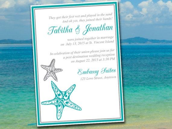 Post Wedding Invitations Reception: Items Similar To Beach Wedding Reception Invitation