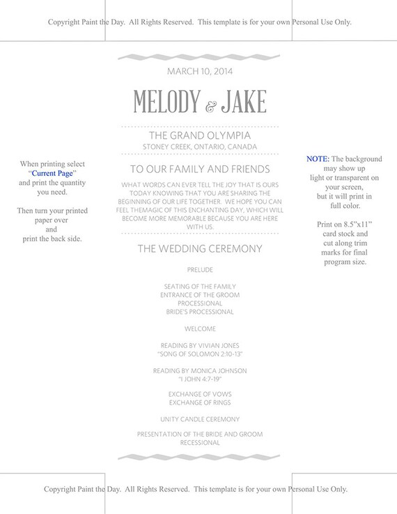 DIY Wedding Program Template Silver Gray Wave Modern Typography