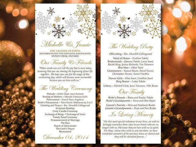 Winter Wedding Program Template Download