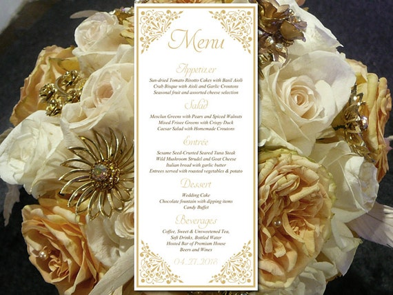 Printable Wedding Menu Template Entree Card Gold