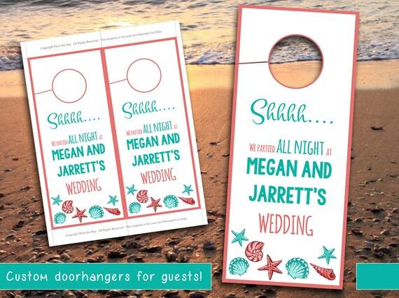 Beach Wedding Door Hanger Template Seashell Coral Teal - Wedding door hangers template