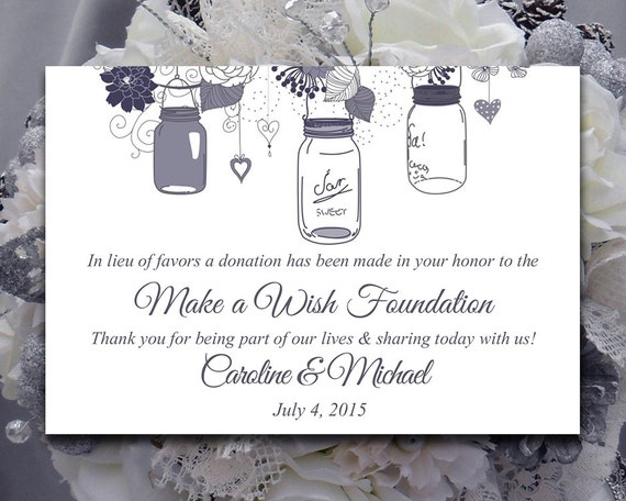 Wedding Favor Donation Card Template Mason Jar Wedding Etsy