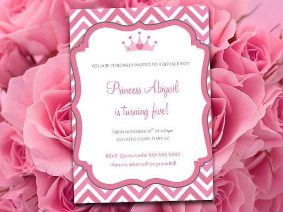 Birthday Party Invitation Template Princess Party Invitation Etsy