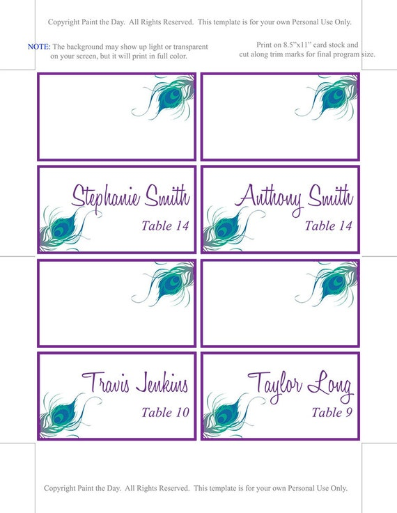 wedding tent place cards microsoft word template purple blue green