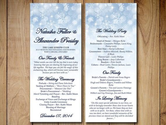 winter wedding program template download snowflake etsy