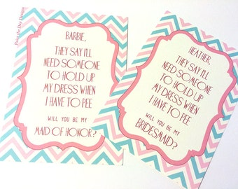 Will You Be My Bridesmaid Wedding Card -  Pink Blue Wedding - Hold Dress While I Pee Card - Bridesmaid Proposal - With or Without Envelope