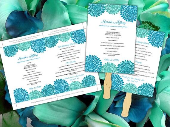 Diy Wedding Fan Blue Teal Green Chrysanthemum Microsoft Word Etsy