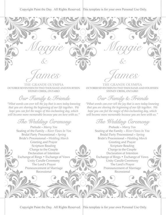 DIY Wedding Program Template