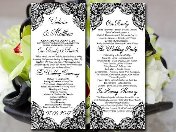 Lace Wedding Program Template Tea Length Program Black | Etsy