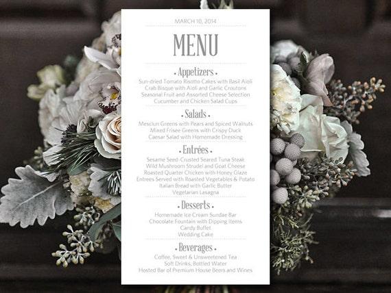 Printable Wedding Menu Card Template Silver Gray Menu Card Etsy