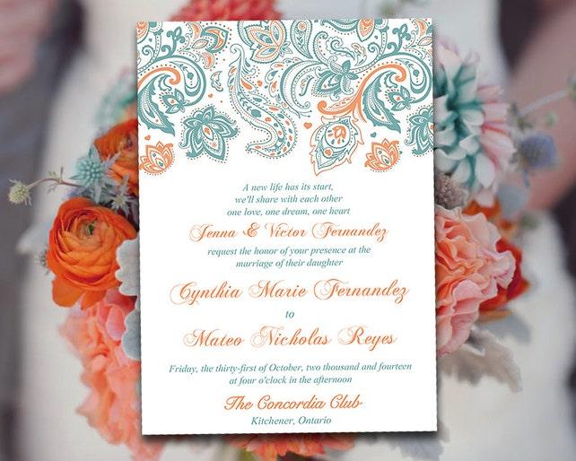 DIY Wedding Invitation Template Paisley Invitation Country   Etsy