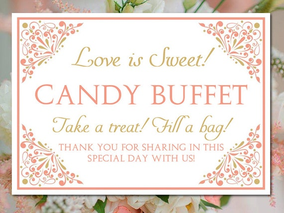 Candy Buffet Wedding Template Bar Sign Small