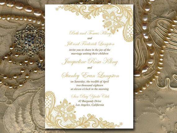 Gold Hochzeit Einladung Vorlage Druckbare Gold Spitze Einladung Diy Hochzeit Druckbare Microsoft Word Vorlage Instant Download Einladen