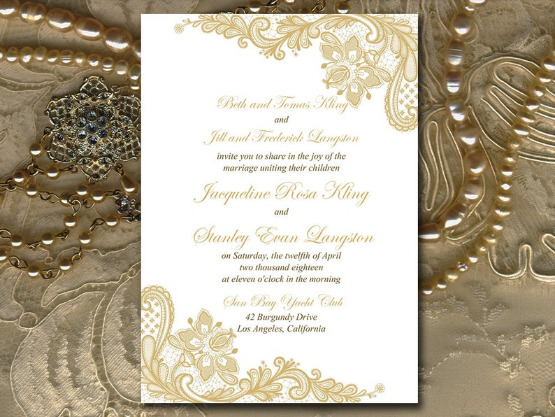 Gold Wedding Invitation Template Printable Lace DIY Microsoft Word Instant Download Invite