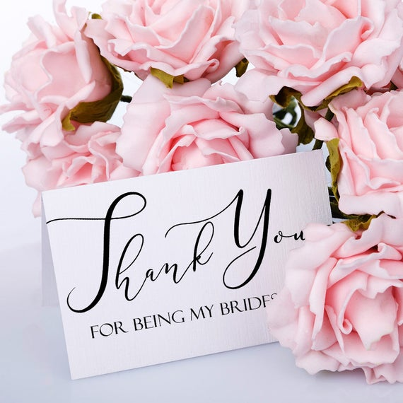 Bridesmaid Thank You Card Wedding Thank You Note Maid Of Etsy