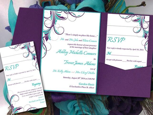 Peacock Pocketfold Wedding Invitation Template Set