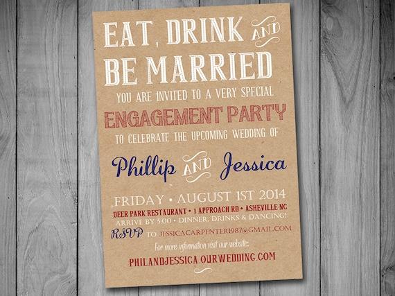 printable engagement party invitation template kraft etsy