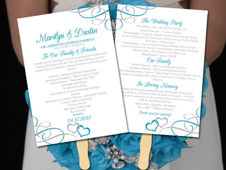 DIY Wedding Program Fan Template - Printable Wedding Program