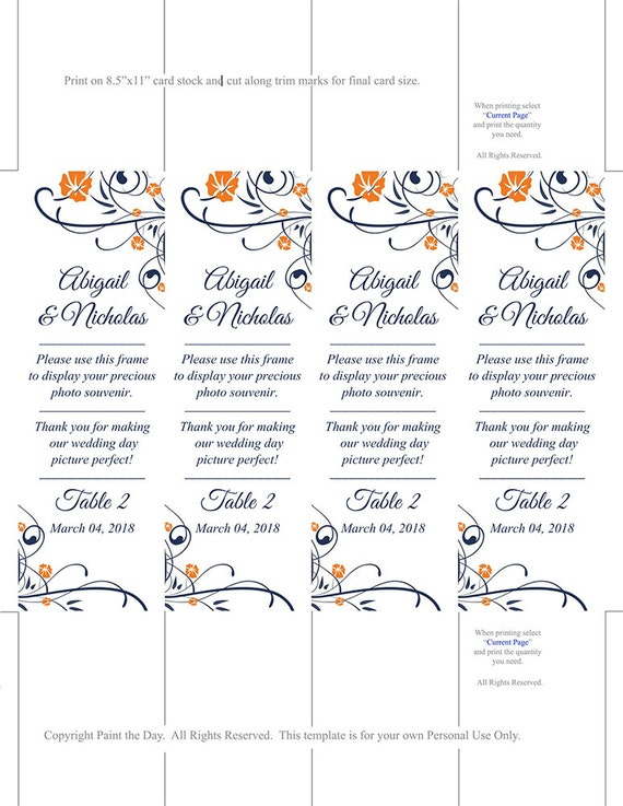 Photo Booth Insert Place Card Template Printable Dark Navy