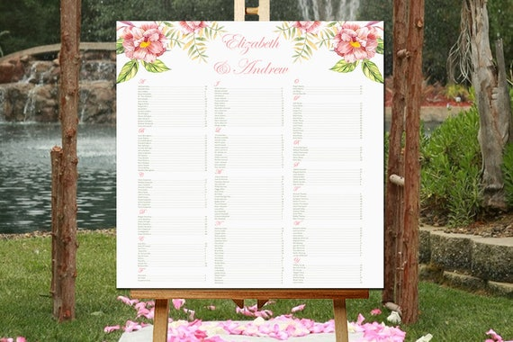 printable seating chart template watercolor floral wedding etsy