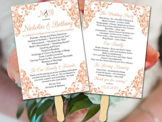 """Wedding Fan Template - Fan Program Template DIY Wedding Program Wedding Program Fan DIY Ceremony Program Printable Program Timeline """"Jenna"""""""
