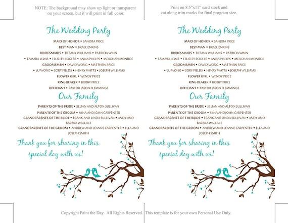 Love Bird Wedding Program Template Download Teal Brown Etsy