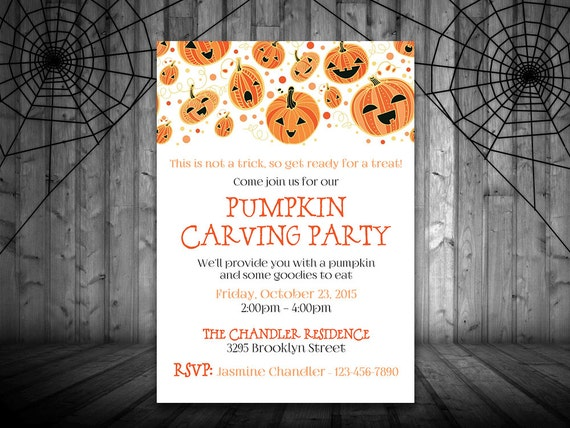 pumpkin carving party invitation template halloween party etsy