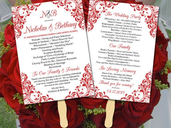 wedding fan template fan program template diy wedding etsy