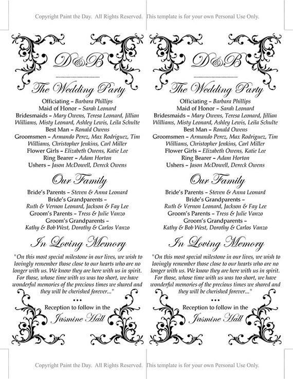 Wedding Program Printable Order Of Service Black Template Tea Length Timeline INSTANT DOWNLOAD Diana Ceremony