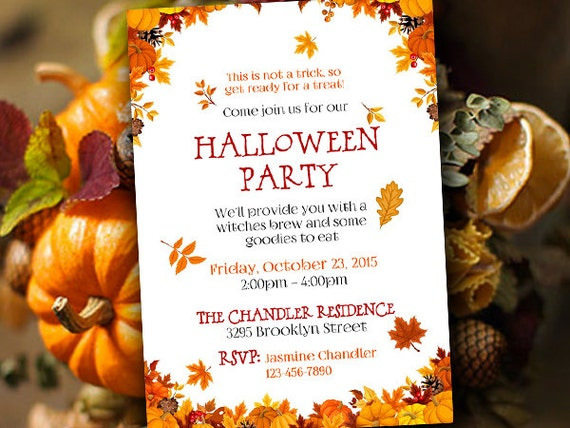 halloween party invitation template fall party invitation etsy