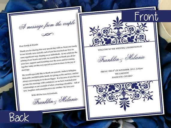 snowflake diy wedding program template ornate border navy etsy