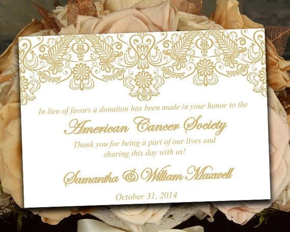 Lace Wedding Favor Donation Card Template Wedding Charity Etsy