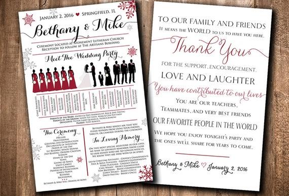 Wedding Silhouette Program Winter Card